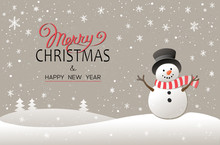 Christmas Background With Snowman. New Year Illustration.
