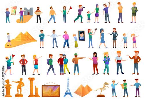 Excursion icons set Wallpaper Mural