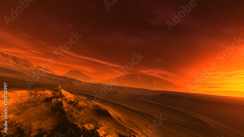 Cadres-photo bureau Rouge mauve 3D illustration of a fantastic sunrise on an alien planet. Dramatic extraterrestrial landscape