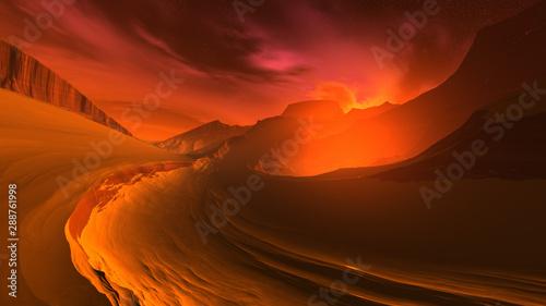 Obrazy w różnych kolorach  3d-illustration-of-a-fantastic-sunrise-on-an-alien-planet-dramatic-extraterrestrial-landscape