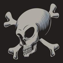 Alien Skull Crossed Bone Vector Illustration