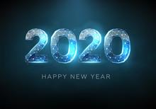 2020 Blue Text Design. Low Pol...