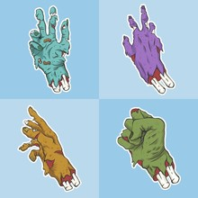 Hand Zombie Set Collection Vector Illustration