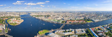 Large Aerial Panoramic View Of Neva River In Saint Petersburg, Russia With Many Landmarks