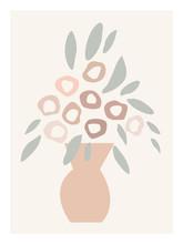 Pastel Vase Of Flowers. Minimal Vector Illustration