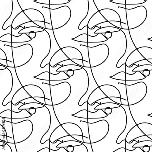 seamless-vector-pattern-with-one-line-art-drawing-of-a-face-in-black