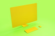Leinwanddruck Bild - All orange minimal concept with blank single material computer screen at abstract background. 3D Rendering