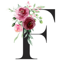Floral Alphabet, Letter F With Watercolor Flowers And Leaf. Monogram Initials Perfectly For Wedding Invitations, Greeting Card, Logo, Poster And Other Design. Holiday Design Hand Painting.