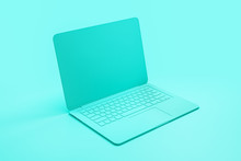 Minimal Concept With Single Material Tuquoise Laptop At Abstract Tuquoise Background.