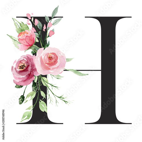 Floral alphabet, letter H with watercolor flowers and leaf Fototapet
