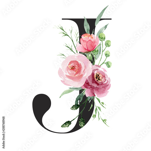 Fototapeta Floral alphabet, letter j with watercolor flowers and leaf