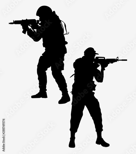 vector silhouettes of soldiers Canvas Print