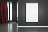 Fototapeta Kawa jest smaczna - Blank white mock up poster on dark wall in modern living room with wooden floor and red curtain.