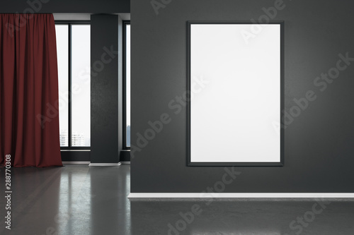 Ingelijste posters Eigen foto Blank white mock up poster on dark wall in modern living room with wooden floor and red curtain.