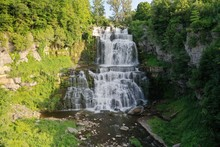 Aerial View Of Chittenango Falls In Upstate New York During Summer