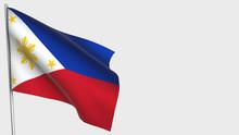 Philippines Waving Flag Illustration On Flagpole.
