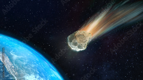 3d illustration asteroid towards to the Earth D Canvas Print