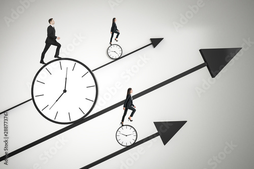 Obraz Time is money and race against time concept with business people trying to outrun time. - fototapety do salonu