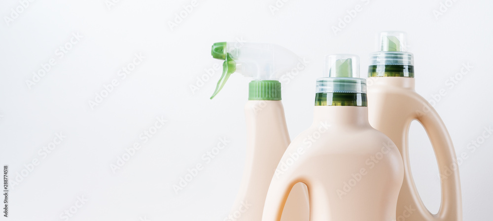 Fototapety, obrazy: Set of blank label bottles for mockup packaging of cleaning detergent on white background. Cleaning tools, cleanliness and cleaning layout.
