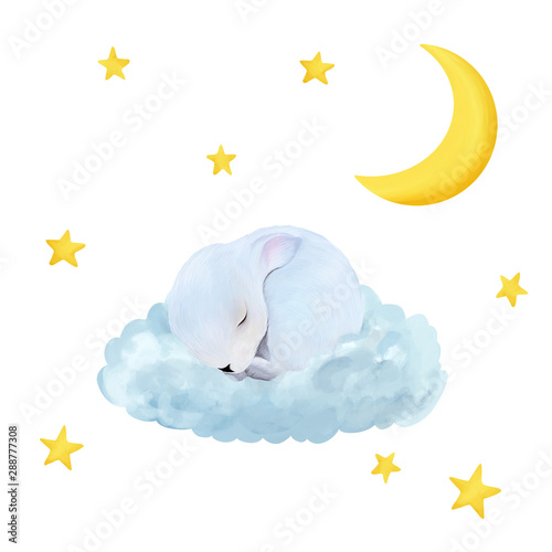 Cute newborn bunny. Night drawn illustration. Can be used for t- shirt prints, kids nursery wear fashion design, baby shower invitation card