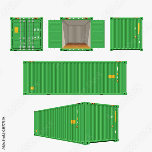 green container set on white Wallpaper Mural