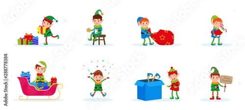 Obraz na plátne  Vector set of flat cute cartoon Christmas elves