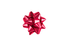 Pink Paper Holiday Bow Over White Isolated Background. Single Object. Mockup. Top View