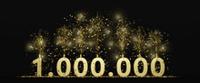 1 Million Followers Or Prize Black Background 3D Rendering