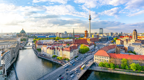 Photo sur Toile Europe Centrale Berlin skyline with Berlin cathedral and Television tower at sunset, Germany