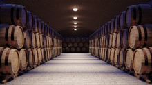 Wine Cellar With Large Wooden Barrels