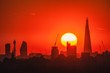 canvas print picture - Sunset behind the London skyline