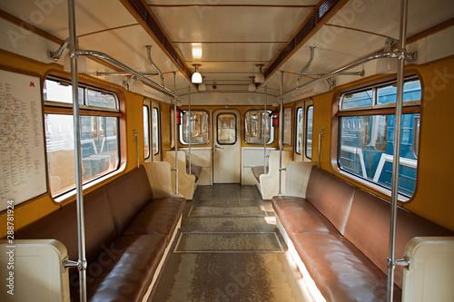 Tela  Interior of an empty retro car of a 1935 subway train