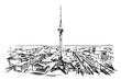 Rysynek ręcznie rysowany. Wieża w Berlinie