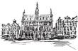 Rysynek ręcznie rysowany. Centrum Brukseli w Belgii