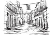 Rysynek ręcznie rysowany. Ulica w Hawanie