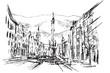 Rysynek ręcznie rysowany. Ulica w Insbruku