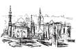 Rysynek ręcznie rysowany. Historyczna dzielnica w Kairze w Egipcie