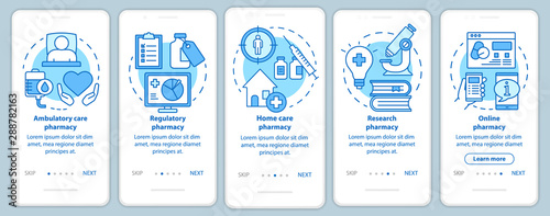 Ambulatory and home care pharmacy onboarding mobile app page screen with linear concepts Canvas Print