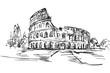 Rysynek ręcznie rysowany. Starożytne centrum Rzymu. Widok na Koloseum