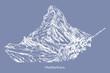 Rysynek ręcznie rysowany.  Widok na górę Matterhorn w Alpach