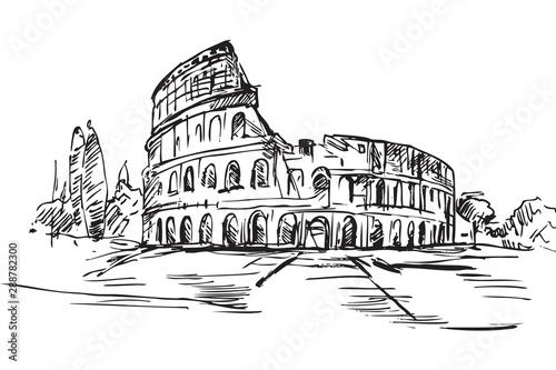 Fototapeta Rysynek ręcznie rysowany. Starożytne centrum Rzymu. Widok na Koloseum obraz