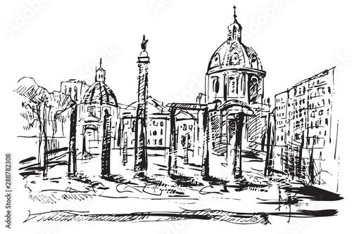 Rysynek ręcznie rysowany. Starożytne centrum Rzymu.  - fototapety na wymiar