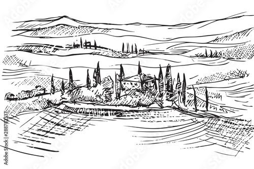 Rysynek ręcznie rysowany. Toskański pejzaż we Włoszech w Europie - 288782337