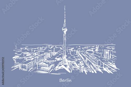 Fototapeta Rysynek ręcznie rysowany. Wieża w Berlinie obraz