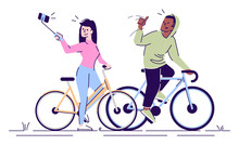 Selfie Flat Vector Illustration. Man And Woman On Bicycles Taking Selfie Stick Picture Together. Couple Making Self Portrait In Sports Training Isolated Cartoon Character On White Background
