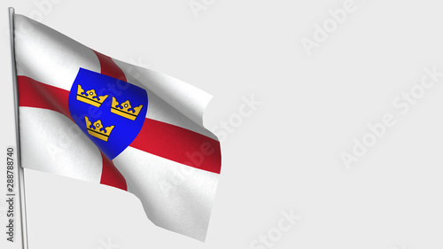 Fotografering East Anglia waving flag illustration on flagpole.