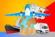Bhutan logistics concept illustration. National flag of Bhutan from the back of globe, airplane, truck and cargo container ship