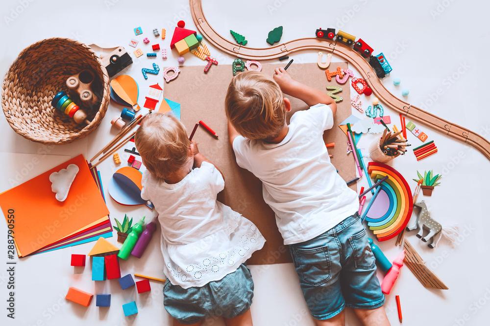 Fototapety, obrazy: Kids draw and make crafts. Kindergarten or preschool background.