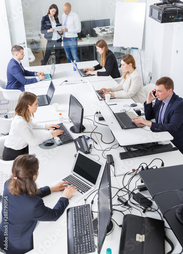 Top view of business people working and communicating together - 288790956