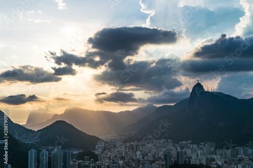 Aerial view of Rio de Janeiro with Christ Redeemer and Corcovado Mountain Tablou Canvas